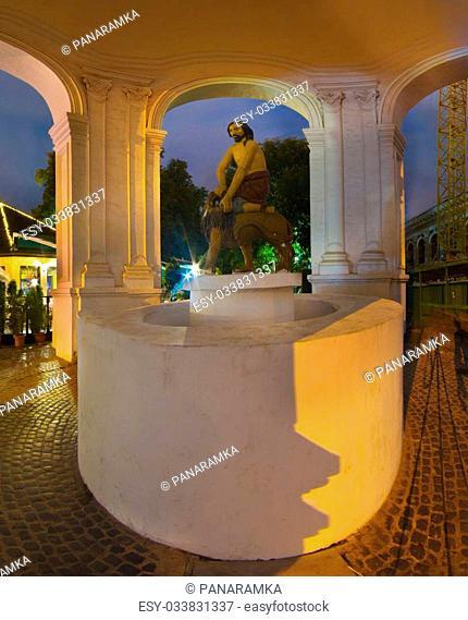 Kiev, Ukraine- September 6, 2013: The Fountain of Samson or Felitsiyal is a Ukrainian Baroque fountain in the Podil district of Kiev
