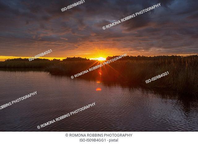 Sunrise over Halls river, Homosassa, Florida, USA