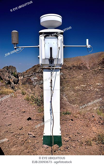 Perimeter of volcanic crater with seismic apparatus