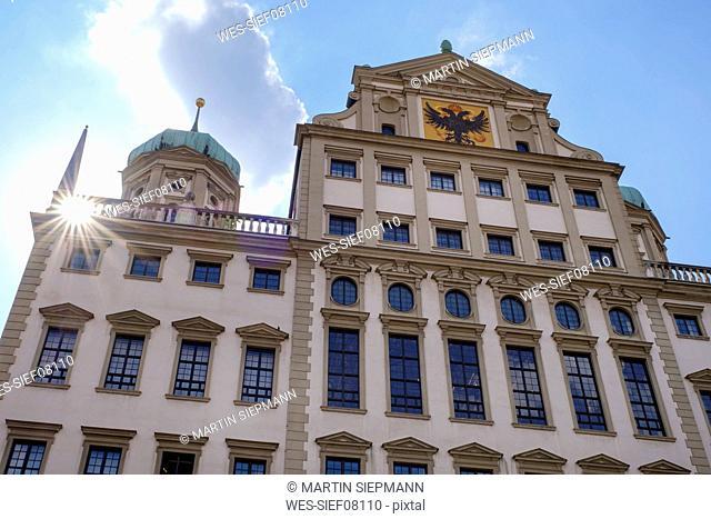 Germany, Bavaria, Augsburg, Townhall, east facade against the sun