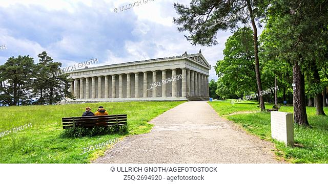The Walhalla Hall of Fame temple in Donaustauf by the Danube River near Regensburg, Bavaria, Germany, as seen as from North East