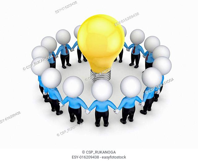 3d small people around yellow bulb