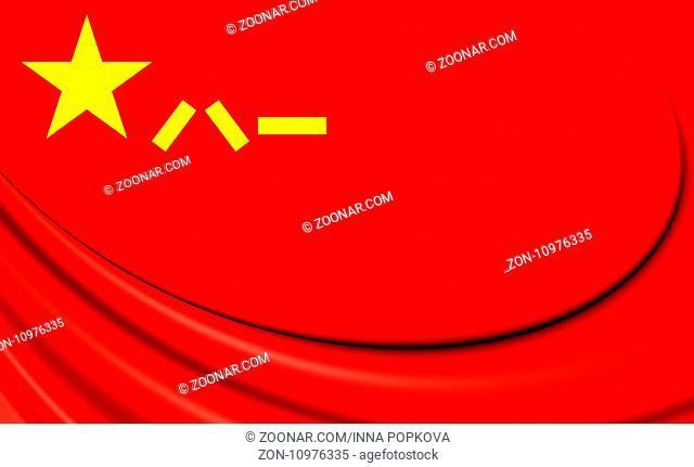 People's Liberation Army Flag of the People's Republic of China. 3D Illustration