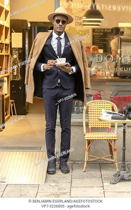 man, coffee, suit, business, resting, break