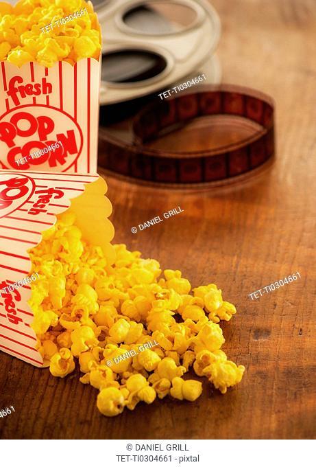 Studio Shot, Film reel and box of popcorn