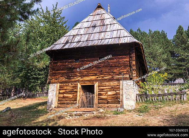 Traditional wooden house dates from 1891 in Ethnographic heritage park called Old Village Museum in Sirogojno village, Zlatibor region, Serbia