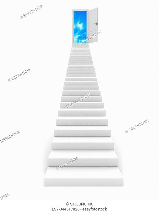 Stairway to the sky. 3d image renderer