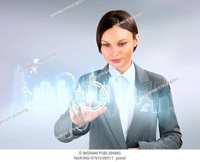 Businesswoman real estate city concept