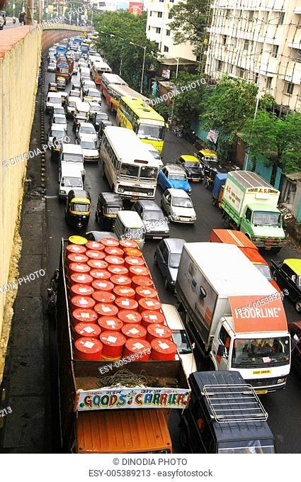 Traffic jam in Bombay Mumbai ; Maharashtra ; India
