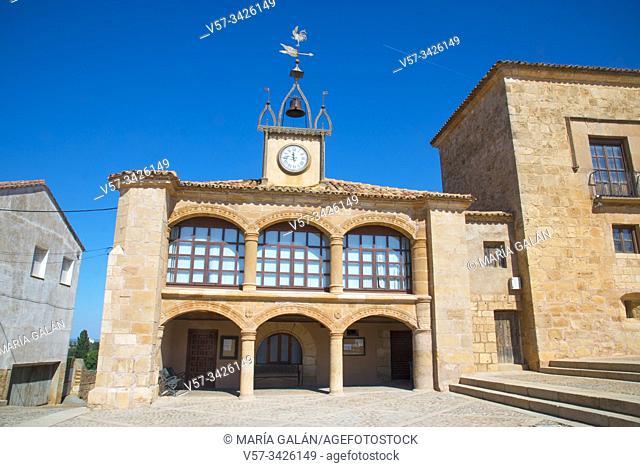 Town hall. Plaza Mayor, Moron de Almazan, Soria province, Castilla Leon, Spain