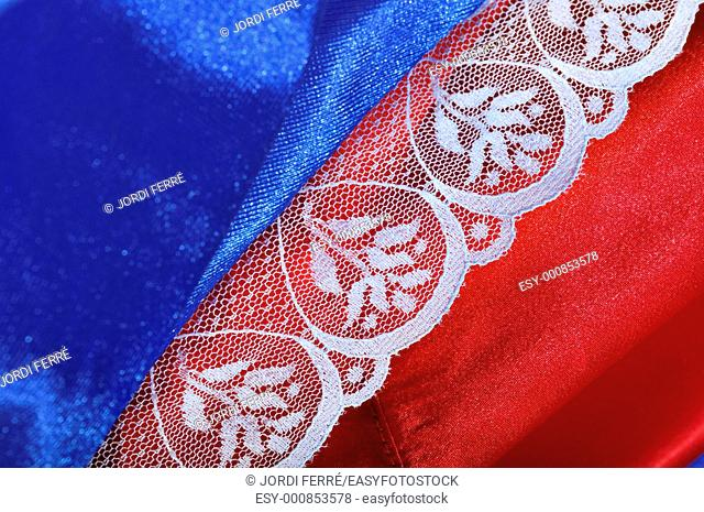 Detail of blue and red lingerie