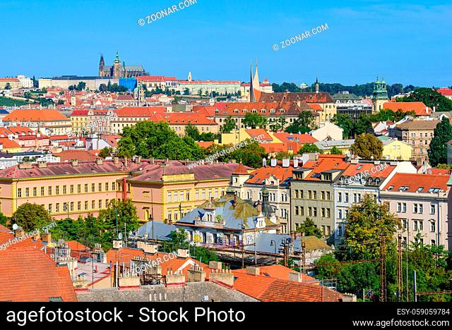 View of the traditional buildings and old town in Prague, Czech Republic