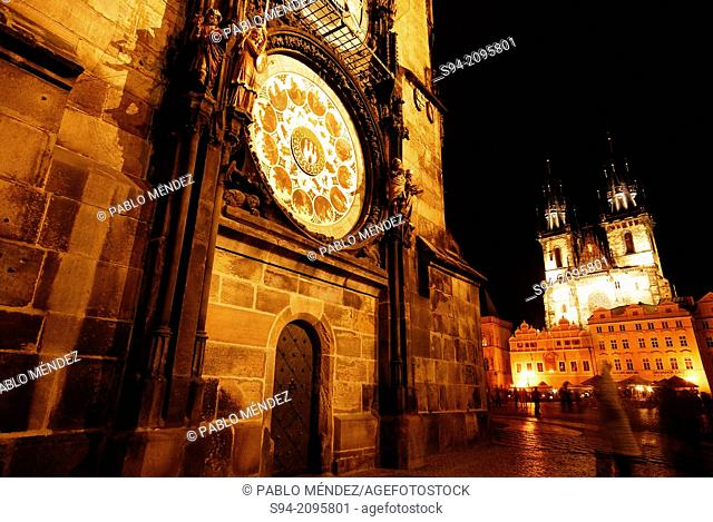 Astronomical clock in Old City square of Prague, Bohemia, Czech Republic