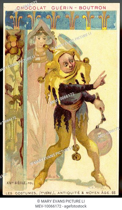 A medieval court jester in two-tone yellow and black, with bells and bladder