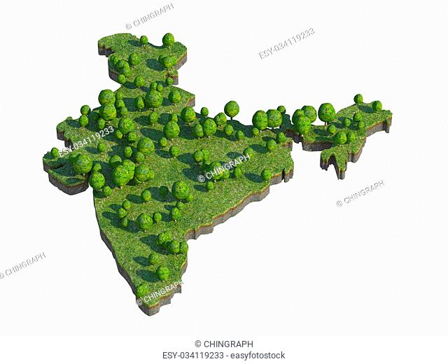 3d render of india map section cut isolated on white with clipping path