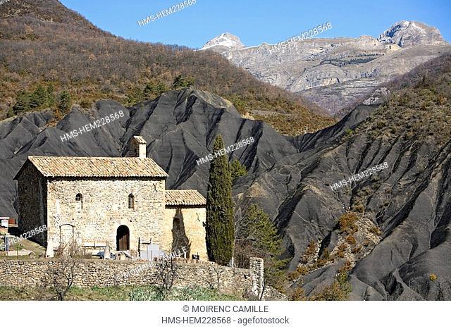 France, Alpes de Haute Provence, La Roubine, near Digne les Bains, Church