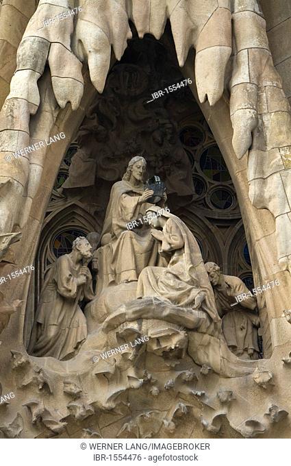 Detail of the east facade or Nativity façade, Sagrada Familia, Antoni Gaudi architect, UNESCO World Heritage Site, Barcelona, Catalonia, Spain, Europe