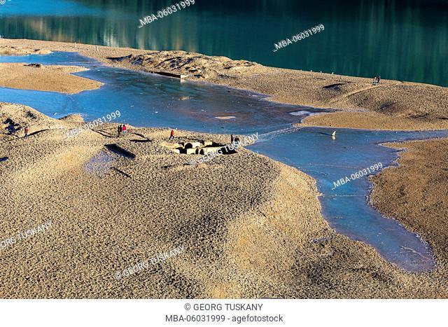 Sylvenstein Dam, low water, ruins