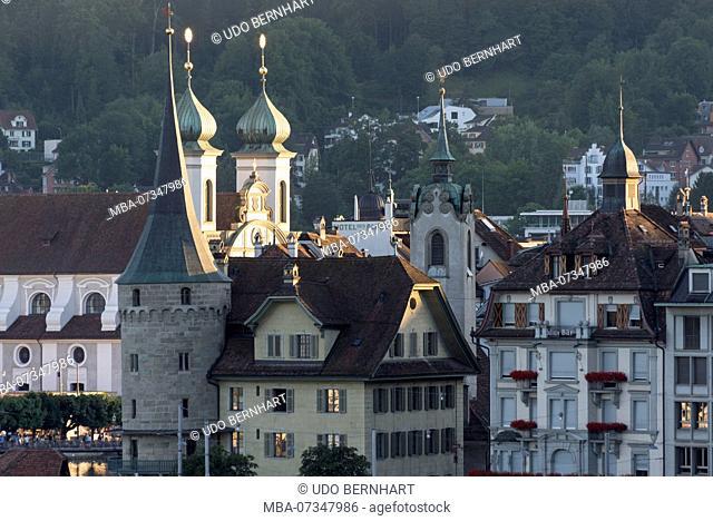 Old Town with Zurgilgen House and Jesuit Church, Lucerne, Lake Lucerne, Canton Lucerne, Switzerland