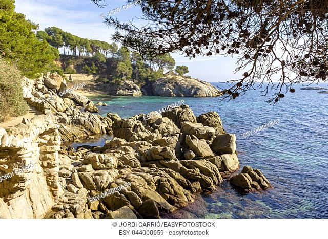 View of the cliffs of the coastal path from Platja d'Aro to Calonge on the Costa Brava, Catalonia