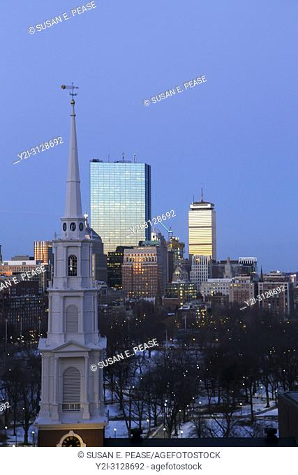 Park Street Church steeple and skyscrapers early in the morning, Boston, Massachusetts, United States