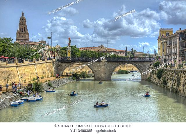 HDR image of Boats on the River Segura in the City of Murcia in Spain