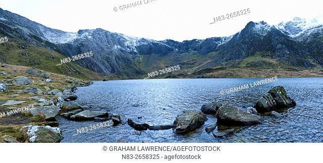 A panoramic view of Llyn (lake) Idwal in Snowdonia National Park, Gwynedd, Wales, UK