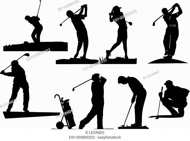 Eight golfer silhouettes