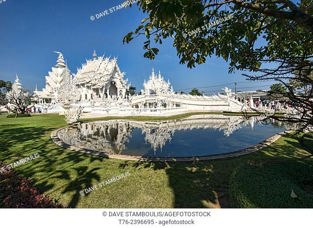 The gleaming white temple Wat Rong Khun in Chiang Rai, Thailand