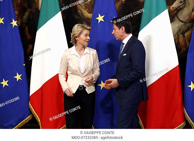 Italian Prime Minister Giuseppe Conte meets the President of the European Commission Ursula von der Leyen at Palazzo Chigi. Rome, August 2nd, 2019