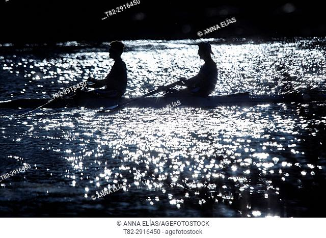 Backlight of two sportsmen paddling in canoe on the Guadalquivir River, Seville, Andalucia, Contact Us, Europe