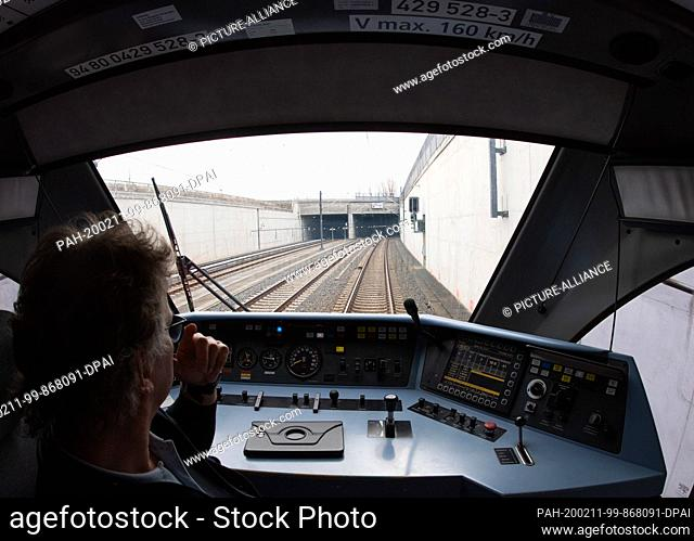 11 February 2020, Berlin: The train driver waits before entering the tunnel into the station of the future Berlin Brandenburg Airport