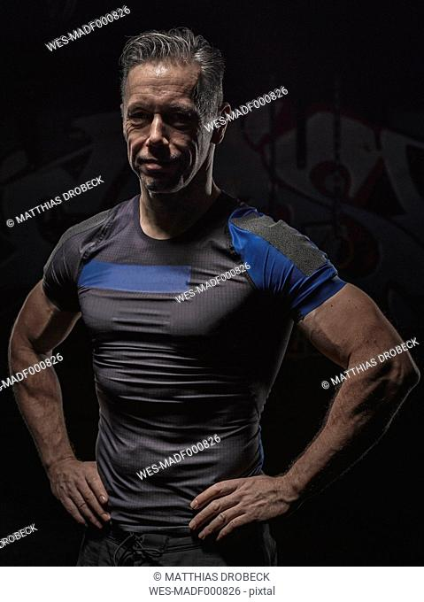 Portrait of mature crossfit athlete