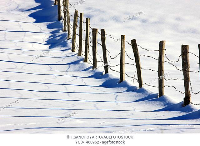 Old fence after a snow storm, Piedrasluengas pass, Cantabria, Spain