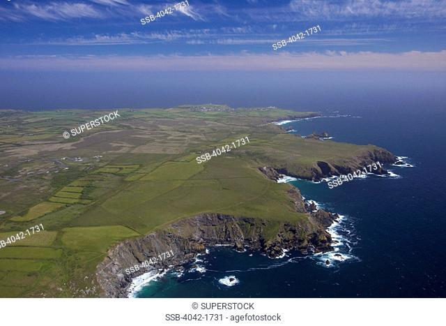 United Kingdom, Cornwall, Aerial view of Vellan Head and Kynance Cliff, looking south, Lizard Peninsula, in summer sun