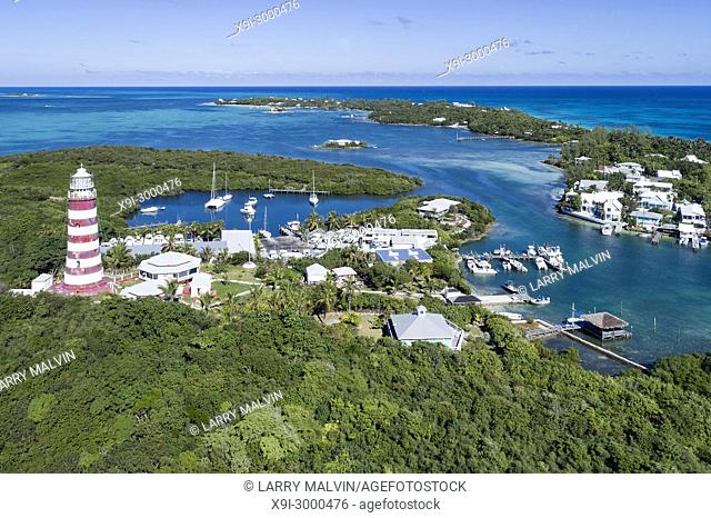Aerial view of the harbour and lighthouse in Hope Town on Elbow Cay off the island of Abaco, Bahamas