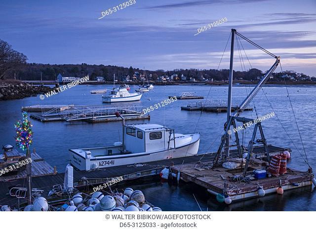 USA, New England, Cape Ann, Massachusetts, Annisquam, Annisquam Harbor, harbor with small Christmas Tree, dusk