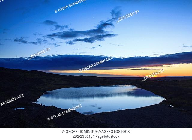 Small lake at sunset. Vatnajokull National Park. Iceland