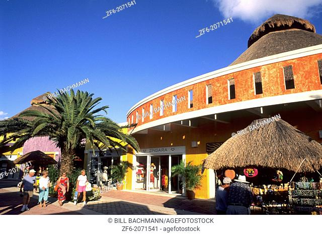 Tourists and at Puerta Maya Harbor Shops in Cozumel Mexico