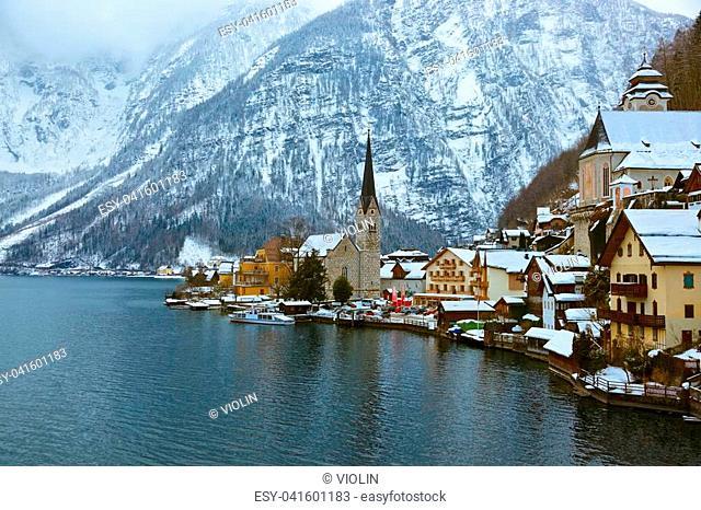 Village Hallstatt on the lake Hallstatter at winter - Salzburg Austria