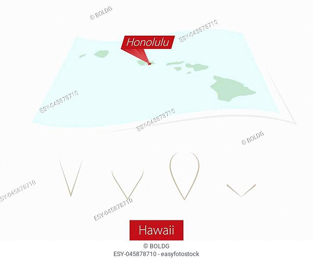 Curved paper map of Hawaii state with capital Honolulu on Gray Background. Four different Map pin set. Vector Illustration