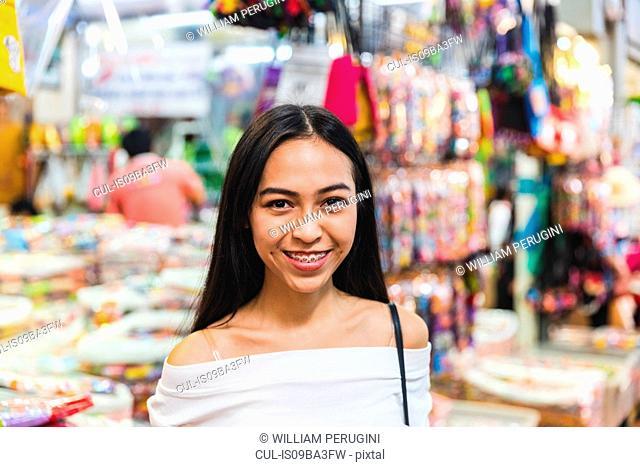 Tourist in bazaar, Bangkok, Thailand