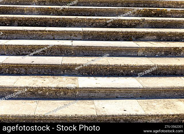 Italy: close up of an ancient marble staircase