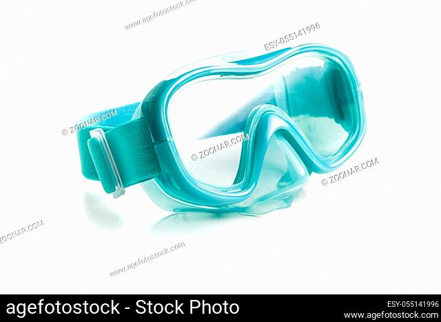 Blue diving mask isolated on white background