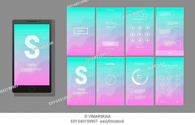 Modern UI, GUI screen vector design for mobile app with UX and flat web icons. Wireframe kit for Lock Screen, Login page, Enter Passcode, Application Loading