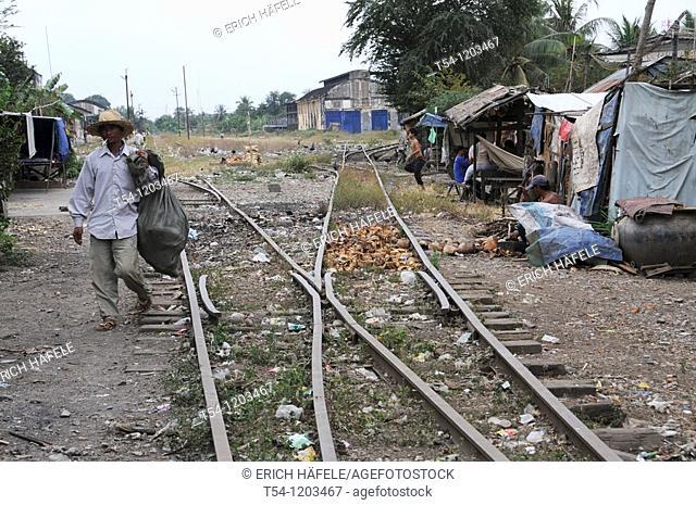 Railway points at the station in Battambang