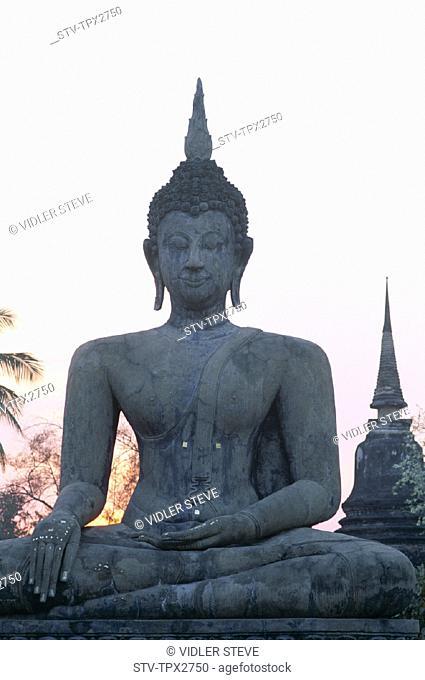 Asia, Buddha, Heritage, Holiday, Landmark, Seated, Sukhothai, Thailand, Tourism, Travel, Unesco, Vacation, Wat mahathat, World