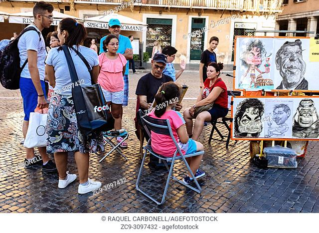 Street painter working on a caricature of a girl in Piazza Navona while the rest of the family is around and looking at him, Rome, Lazio region, Italy