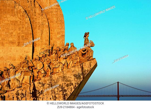 Monument of Discoveries (Padrao dos Descobrimentos) and April 25th Bridge at sunset, Belem,Lisbon,Portugal,western Europe