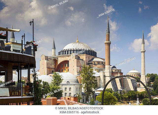 Hagia Sophia or Ayasofya building and restaurant. Istanbul, Turkey